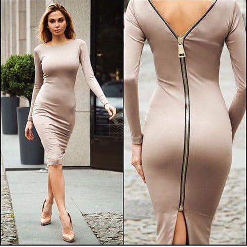 Обтягивающее миди платье-футляр с молнией на спине, ниже колена, с длинным рукавом, из полиэстера и хлопка