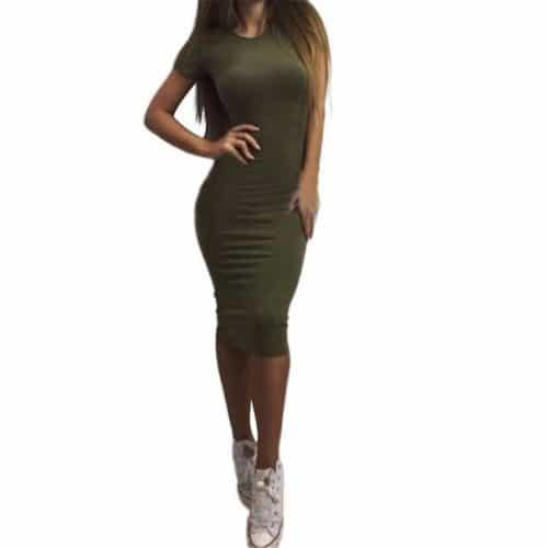 Обтягивающее платье-футляр до колена с коротким рукавом, из полиэстера и хлопка