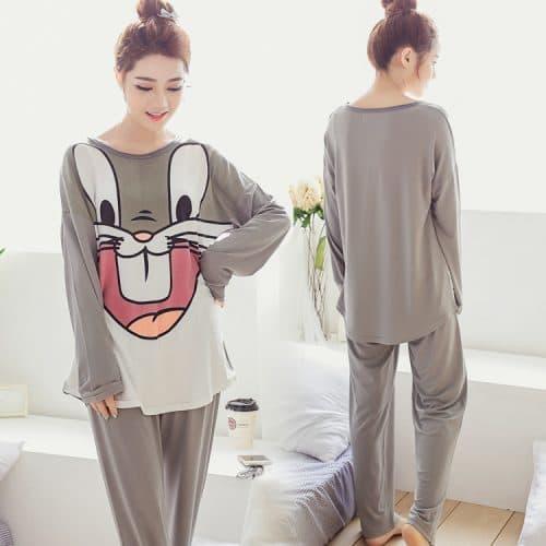 Пижама женская с брюками и длинным рукавом из полиэстера и микрофибры кролик Bugs Bunny