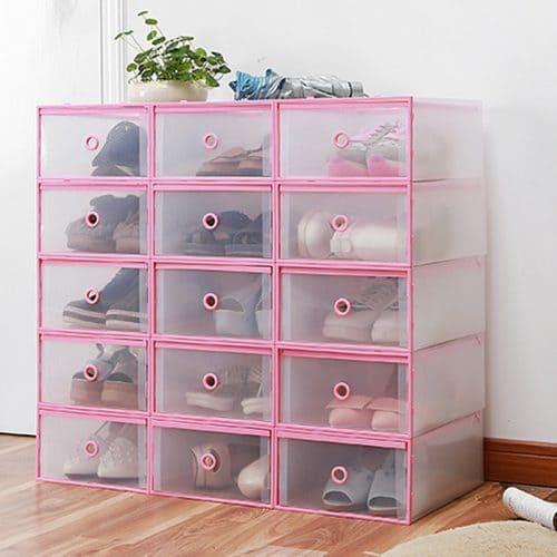 Пластиковые прозрачные коробки-контейнеры для хранения обуви