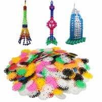 Пластиковый разноцветный конструктор снежинки 400 шт. в наборе