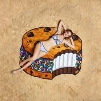 Прикольные пляжные полотенца из полиэстера (торт, пицца, пончик, клубника, кекс, арбуз, череп, ананас и другие)