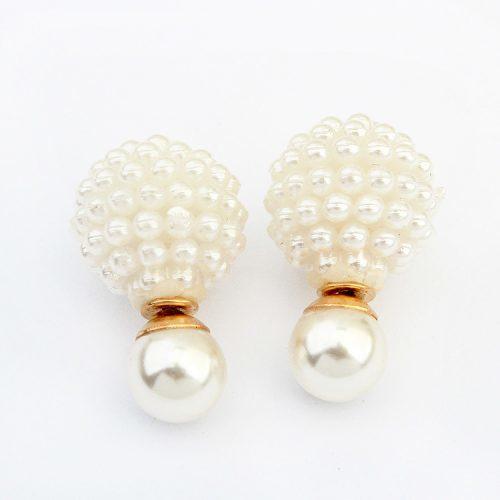 Серьги-гвоздики-пусеты Dior из сплава двухсторонние с двумя шариками