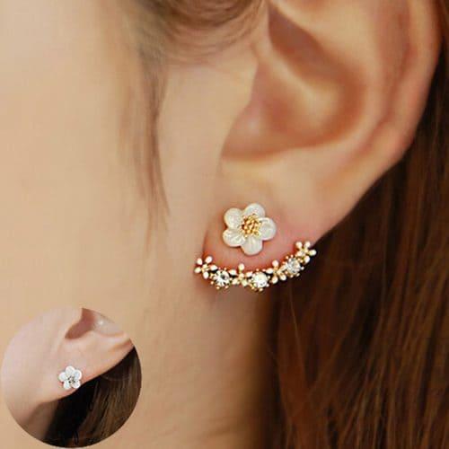 Серьги-гвоздики-пусеты двухсторонние с цветком под золото и серебро с камнями-кристаллами