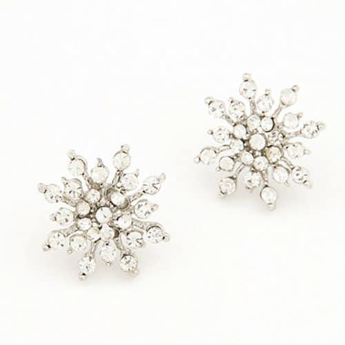 Серьги-гвоздики-пусеты в виде снежинок под золото и серебро с кристаллами-камнями
