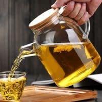 Стеклянный заварочный чайник с деревянной крышкой 1000 / 1800 мл
