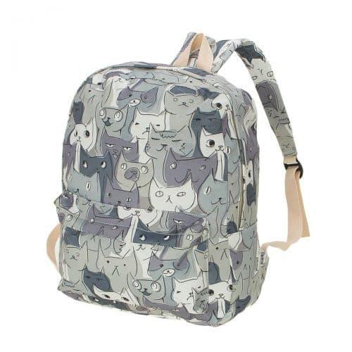 Тканевый женский школьный рюкзак на 20 л с рисунком Коты