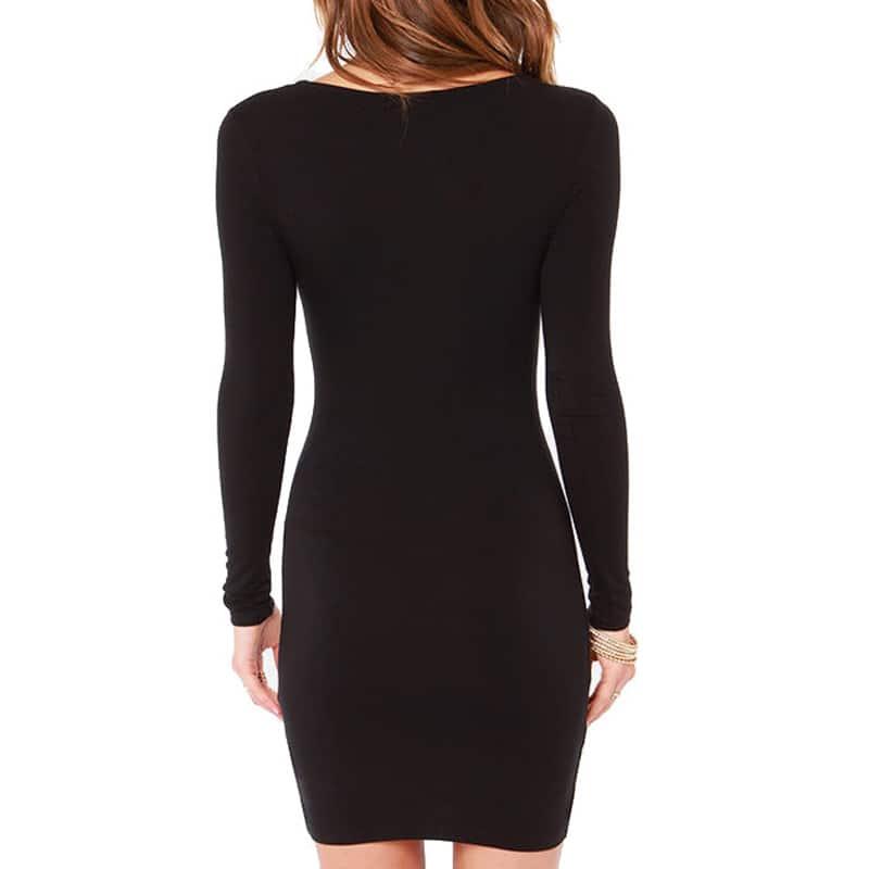 4191634d16a ... Трикотажное обтягивающее короткое мини платье-бандаж из хлопка и  полиэстера с длинным рукавом ...