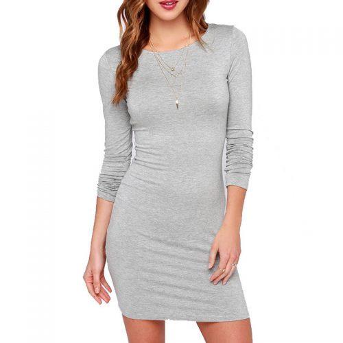 Трикотажное обтягивающее короткое мини платье-бандаж из хлопка и полиэстера с длинным рукавом