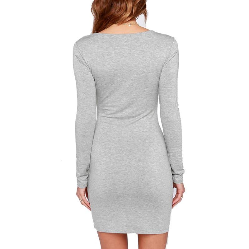 da00007231c ... Трикотажное обтягивающее короткое мини платье-бандаж из хлопка и  полиэстера с длинным рукавом