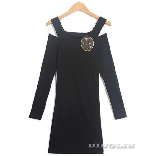 Трикотажное повседневное черное и серое короткое мини платье с длинными рукавами и с вырезами на плечах