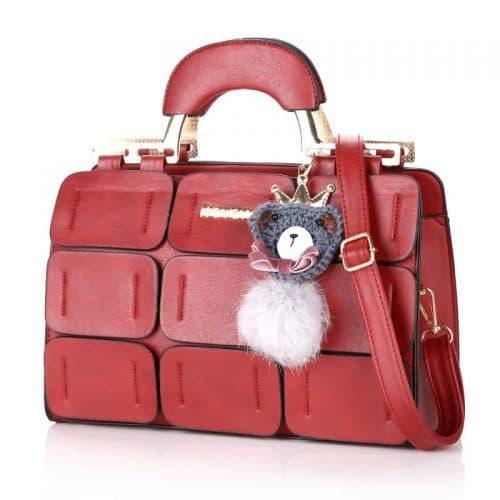 Женская сумка из искусственной кожи, с короткими ручками и ремешком, в стиле пэчворк из лоскутов (длина 32 см)