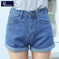 Женские джинсовые шорты с высокой завышенной талией (голубые и синие)