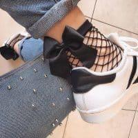Женские носки в сетку с бантиком