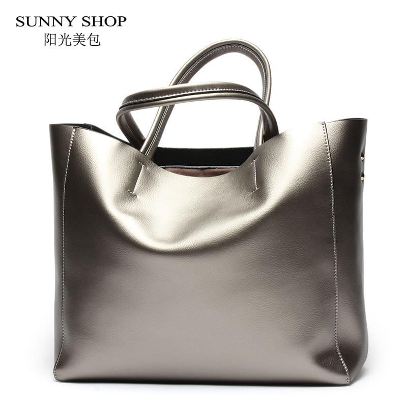 f280dbb53039 Купить Большая женская сумка из натуральной кожи цвета металлик на ...