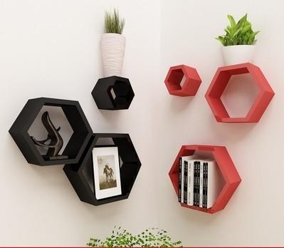 Деревянные полки на стену в виде шестигранника-шестиугольника для книг, цветов (в наборе 3 шт. разных размеров)