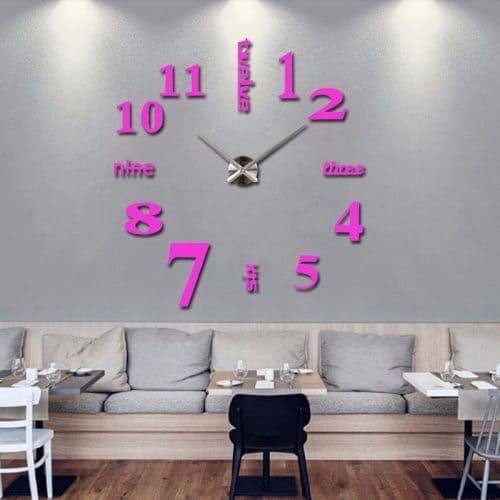 Интерьерные большие настенные кварцевые 3D часы наклейки