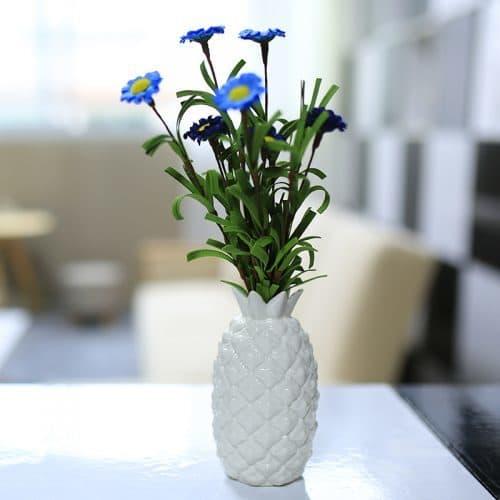 Керамическая декоративная белая ваза-ананас для цветов