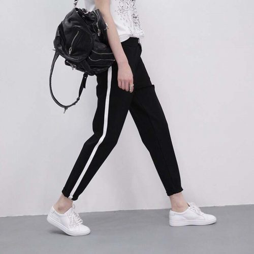 Модные женские черные брюки-шаровары с белыми лампасами