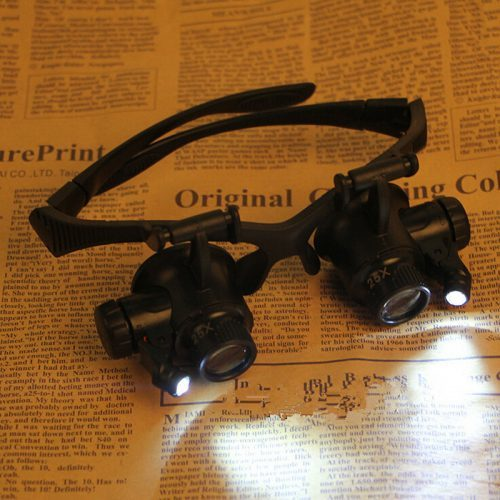 Очки с увеличительными сменными линзами и подсветкой для ремонта