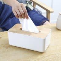 Органайзер для салфеток пластиковая салфетница с деревянной крышкой