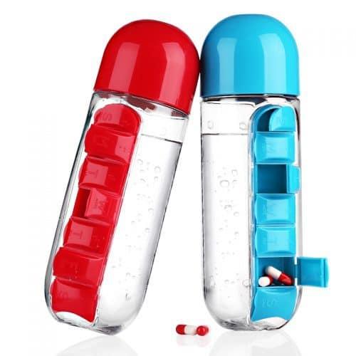 Пластиковая бутылка-органайзер для воды с таблетницей-отсеком для таблеток/витамин PillBox (600 мл)