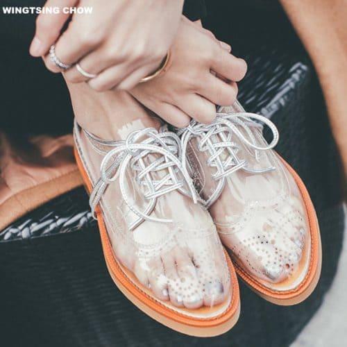 Прозрачные женские ботинки оксфорды на шнуровке