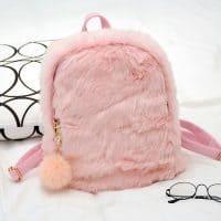 Пушистый плюшевый женский рюкзак (розовый и черный)