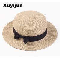 Соломенная летняя женская шляпа канотье