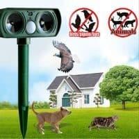Ультразвуковой отпугиватель вредителей, кротов, мышей на солнечных батареях в огород