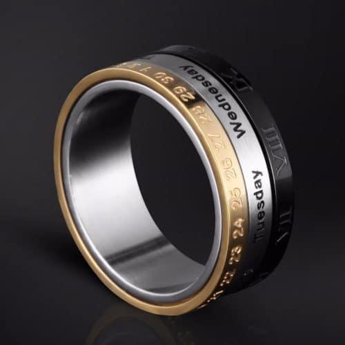 Вращающееся кольцо-календарь из нержавеющей стали