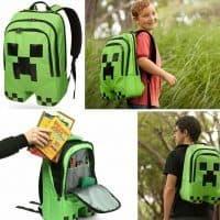 Зеленый школьный текстильный рюкзак Крипер Майнкрафт