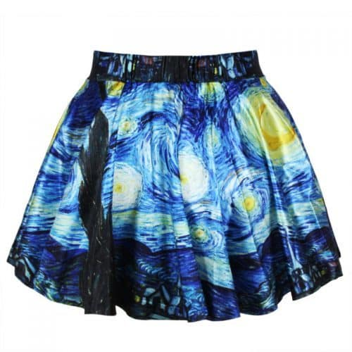 """Женская мини юбка с картиной Ван Гога """"Звездная ночь"""""""