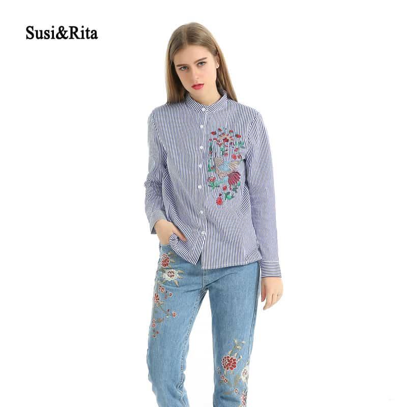 d8d386d2492757a Купить Женская рубашка-блуза в синюю полоску с вышивкой на ...