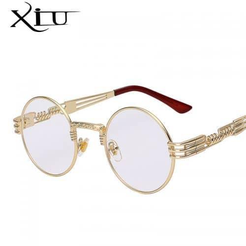 Женские солнцезащитные круглые зеркальные очки UV400 в стиле стимпанк из поликарбоната и металла