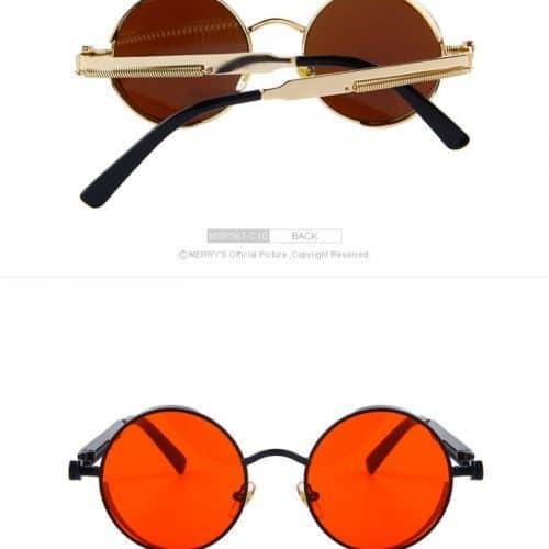 Женские солнцезащитные круглые зеркальные ретро очки UV400 в стиле стимпанк из пластика и металла