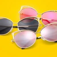 Женские солнцезащитные зеркальные большие очки UV400 формы кошачий глаз из акрила и металла