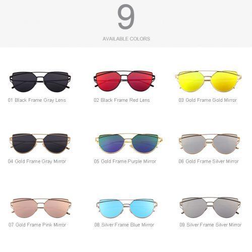 Женские солнцезащитные зеркальные очки UV400 формы кошачий глаз из поликарбоната и металла