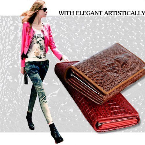 Женский длинный кошелек бумажник из натуральной кожи под крокодила 18,5 см