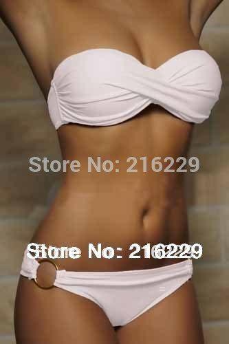 Женский купальник бикини бандо с чашечками на косточках
