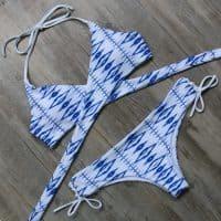 Женский купальник бикини халтер с завязками, чашечками без косточек и низкой посадкой