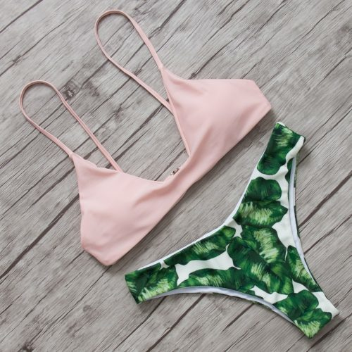 Женский купальник бикини с завязками и чашечками без косточек
