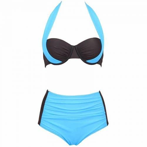 Женский купальник халтер с чашечками Push Up на косточках и высокой талией