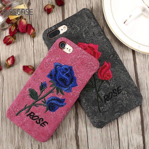Чехол-бампер задняя крышка с вышивкой розы на айфон (iPhone) 6, 7