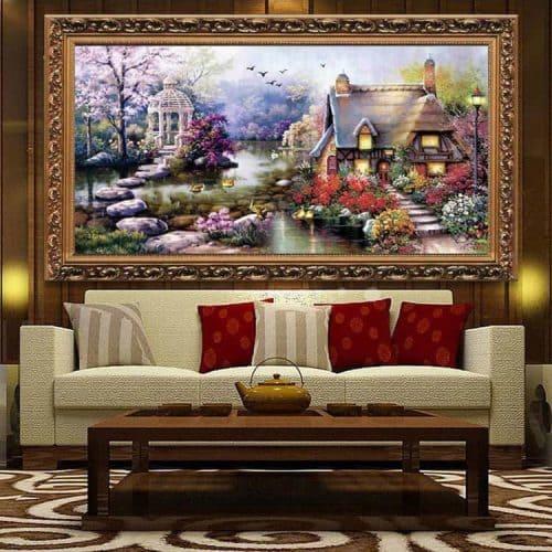 Дешевый набор большой вышивки крестом 11 СТ Природа, дом, река