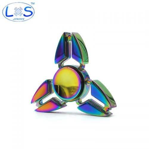 Металлический голографический спиннер hand spinner пальчиковая игрушка-антистресс вертушка для рук