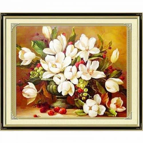 Набор большой вышивки крестом 11 СТ Букет белых цветов