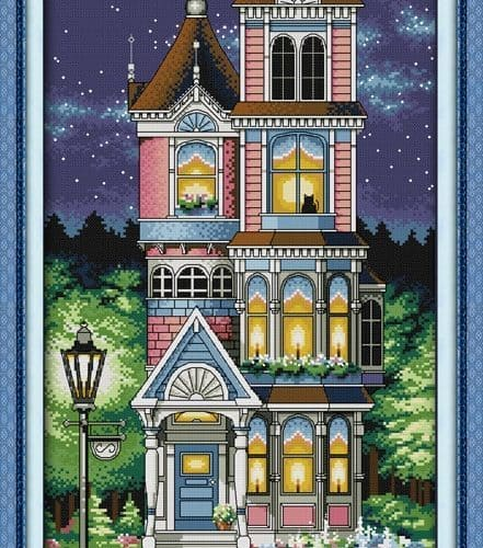 Набор большой вышивки крестом 11 СТ или 14 СТ Тихая ночь, дом