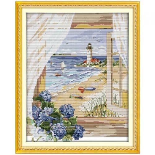 Набор большой вышивки крестом 11 СТ Пейзаж за окном. Маяк, пляж