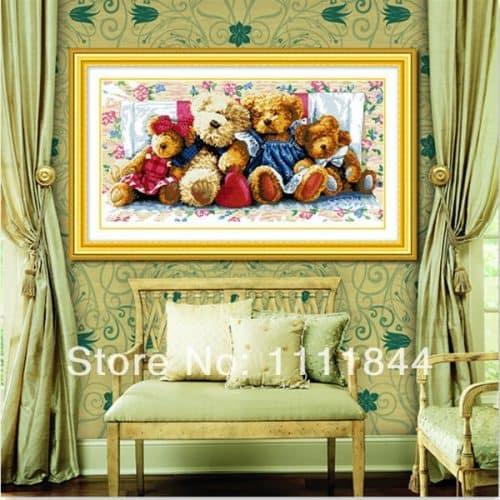 Набор большой вышивки крестом 11 СТ Семья мишек